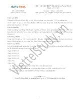 ĐỀ THI THỬ THPT Quốc gia Tháng 11-2014 môn Lịch Sử. Cô Đặng Thu Hà (Đợt 1)