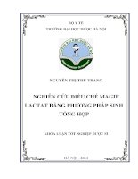 Nghiên cứu điều chế magie lactat bằng phương pháp sinh tổng hợp