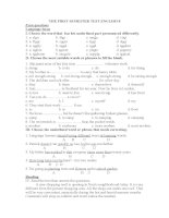 the first semester test ENGLISH 8