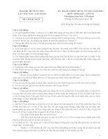 ĐỀ THI CHÍNH THỨC TRẠI HÈ HÙNG VƯƠNG LẦN THỨ VIII MÔN SINH HỌC