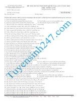 Đề thi thử THPT môn Tiếng Anh số 7
