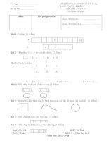 Đề Kiểm tra giữa kỳ I môn Toán lớp 1 số 2