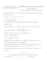 Đề kiểm tra học kì 2 môn Toán lớp 10 năm học 2014-2015 trường THPT Lương Ngọc Quyến, Thái Nguyên
