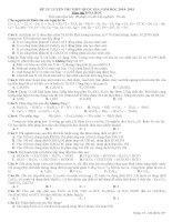 ĐỀ TỰ LUYỆN THI THPT QUỐC GIA NĂM HỌC 2014- 2015 MÔN HÓA ĐỀ SỐ 8