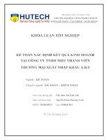 Kế toán xác định kết quả kinh doanh tại công ty TNHH thương mại xuất nhập khẩu A.B.Z