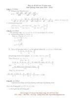 đề thi vào lớp 10 môn toán THPT tỉnh quảng ninh năm 2014-2015