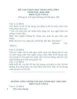 Đề thi chọn học sinh giỏi lớp 6 Môn Ngữ văn - Tam Dương