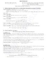 đề thi thử đại học môn toán khối a b d thpt quế võ