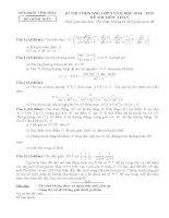 Đề thi học sinh giỏi môn toán 9 tỉnh Vĩnh Phúc năm học 2014  2015 (có đáp án)
