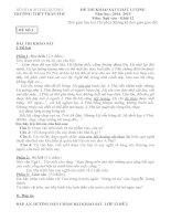 SỞ GD & ĐT HẢI DƯƠNG TRƯỜNG THPT TRẦN PHÚ ĐỀ THI KHẢO SÁT CHẤT LƯỢNG MÔN NGỮ VĂN
