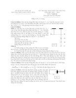 Đề thi chọn HSG cấp trường khối 12 THPT Đặng Thúc Hứa - Thanh Chương - Nghệ An môn vật lý
