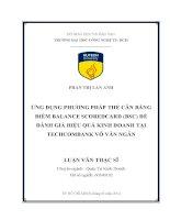Ứng dụng phương pháp thẻ cân bằng điểm balanced scorecard (BSC) để đánh giá hiệu quả kinh doanh tại Techcombank Võ Văn Ngân