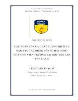 Các nhân tố của chất lượng dịch vụ đào tạo tác động đến sự hài lòng của sinh viên trường đại học Dân lập Văn Lang