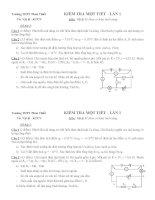 Trường THPT Phan Thiết KIỂM TRA 1 TIẾT LẦN 1 VẬT LÝ 11