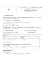 Đề kiểm tra 1 tiết lớp 6 môn GDCD trường THCS Phúc Đồng năm 2014 - 2015