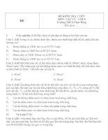 Đề kiểm tra 1 tiết lớp 6 môn Vật lý kỳ 1 trường THCS Phúc Đồng năm 2014 - 2015