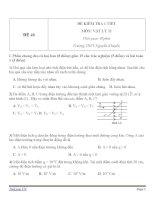 Đề kiểm tra 1 tiết Vật Lý 11 - Đề số (46)