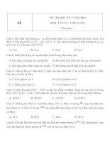 Đề thi học kì 1 môn Vật lý lớp 11 năm 2014 (Chương trình nâng cao)