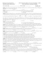 Đề thi thử lần 3 - 2014 - Môn Sinh học - Trường THPT Tĩnh Gia II - Thanh Hóa