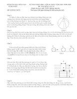 Đề và đáp án học sinh giỏi năm học 2011-2012 tỉnh Vĩnh Phúc môn vật lý 10