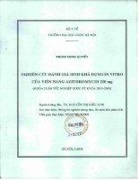 Nghiên cứu đánh giá sinh khả dụng in vitro của viên nang azitthromycin 250mg