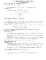 Đề thi thử đại học môn Toán lời giải chi tiết số 54