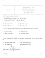 Đề kiểm tra 1 tiết Hình học lớp 7 - Đề 11