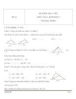 Đề kiểm tra 1 tiết Hình học lớp 7 - Đề 15