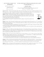 Đề thi và Đáp án Chọn HSG Quốc Gia Thanh Hóa 2011 môn vật lý