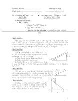 Đề thi HSG lớp 10 (Bảng A+B) Bạc Liêu 2012-2013 môn vật lý