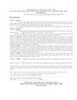 Tuyển sinh 10 CHUYÊN Hóa HÙNG VƯƠNG PHÚ THỌ năm 2004-2205