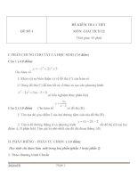 Bộ đề thi kiểm tra 1 tiết môn Toán lớp 12