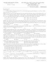 Đề thi thử lần 3 (2014) Hoàng Lệ Kha Thanh Hóa môn vật lý (có đáp án)