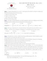 Đề và lời giải chi tiết thi thử online môn vật lý lần 4- 2014 - diễn đàn Thư Viện Vật Lý