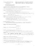 Đề kiểm tra học kì 1 môn Toán lớp 10 trường THPT Vinh Xuân