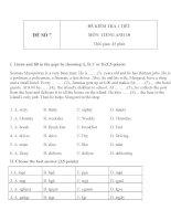 Đề kiểm tra 1 tiết môn tiếng Anh lớp 10 - Đề số 7