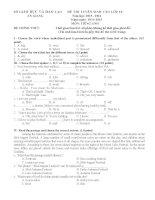 Đề thi Tuyển sinh lớp 10 môn tiếng anh tỉnh An Giang năm học 2015 - 2016(có đáp án)