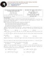 Đề thi khảo sát chất lượng lần 1 năm 2015 trường THPT Tiên Hưng môn vật lý
