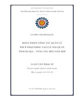 Hoàn thiện công tác quản lý thuế nhập khẩu tại Cục hải quan tỉnh Bà Rịa - Vũng Tàu đến năm 2020