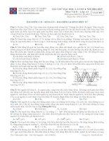 Đề thi thử đại học số 03 năm 2015 Có đáp án (Trần Quốc Lâm BMT) môn vật lý