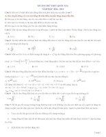 Đề thi +đáp án thi thử THPTQG môn vật lý