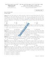 Đề thi thử lần 1 chuyên KHTN Hà Nội môn vật lý