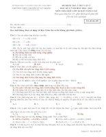 TRƯỜNG THPT CHUYÊN LÝ TỰ TRỌNG ĐỀ KIỂM TRA 1 TIẾT LẦN 2 HỌC KỲ II NĂM HỌC 2014-2015 Môn HÓA HỌC NÂNG CAO lớp 10