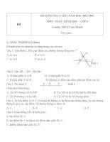 Đề kiểm tra 1 tiết môn Toán phần Hình học lớp 6 năm 2012 - 2013 trường THCS Tam Thanh