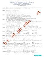 Đề luyện thi THPT Quốc gia môn Vật lý số 30