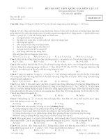ĐỀ VÀ ĐÁP ÁN THI THỬ THPT QUỐC GIA THÁNG 6 - 2015 môn vật lý