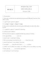 Đề KT 1 tiết môn tiếng Anh lớp 12 - Đề số 14