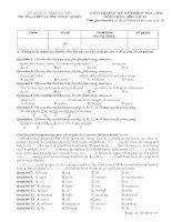 Đề thi học kì 2 môn tiếng anh lớp 11 năm 2014 (chương trình cơ bản)