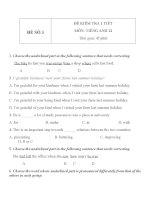 Đề KT 1 tiết môn tiếng Anh lớp 12 - Đề số 3