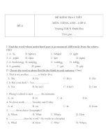 Đề kiểm tra 1 tiết môn Tiếng Anh lớp 6 trường THCS Đình Hóa - Đề số 4